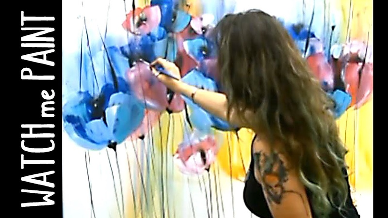 Acrylicpainting Demo Timelapse painting abstract painting floral art by zAcheR fineT