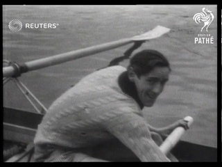 Oxford and Cambridge rowing crews train on the Thames River (1946)