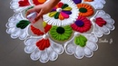 Very easy and attractive multicolored kolam for festivals Rangoli by Sneha J