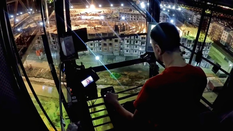 На высоте Ночная смена на башенном кране Night work on tower crane