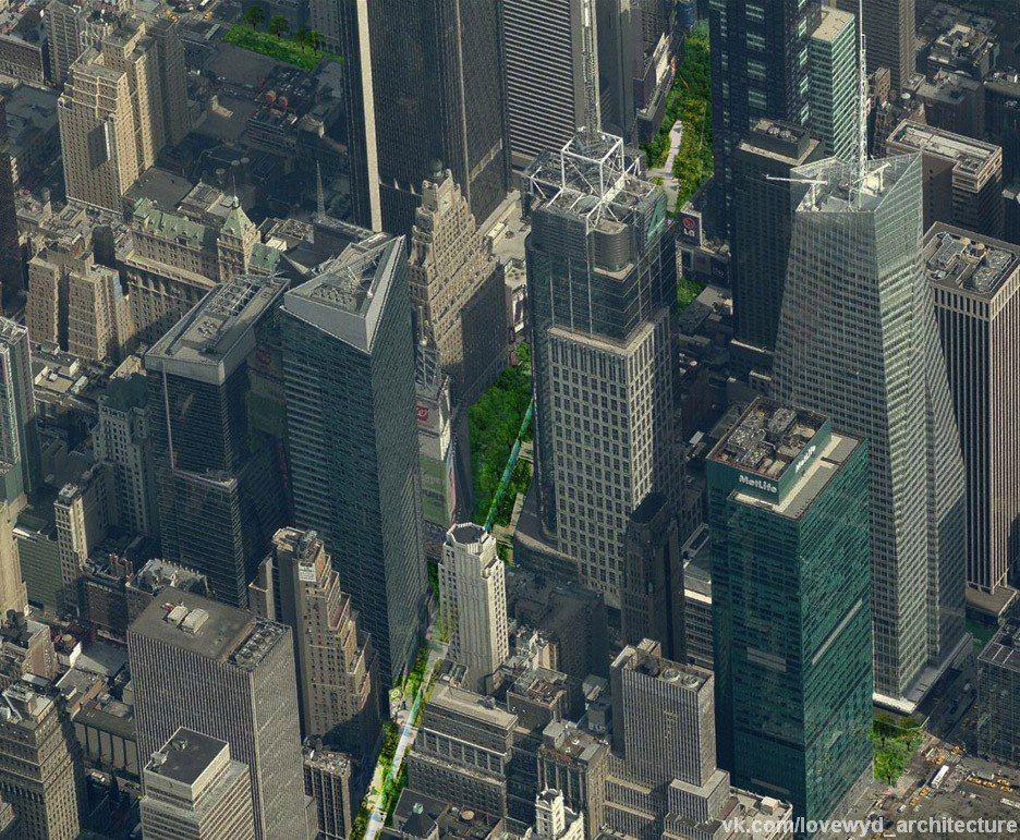 Perkins Eastman предлагает превратить знаковый Бродвей в линейный парк.