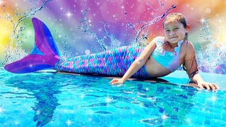 Selin virou uma sereia na piscina! Selin de férias em família no hotel mágico