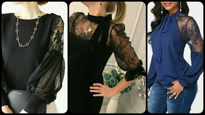 Stylish and comfortable shiffon and lace fabric blouse different style of sleeves and neck designs