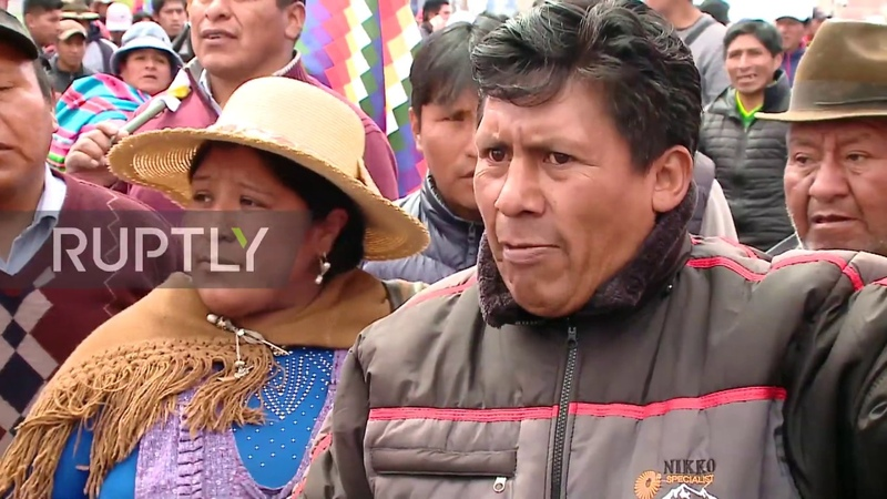 Bolivia: Pro-Morales indigenous people march against interim president Anez in La Paz