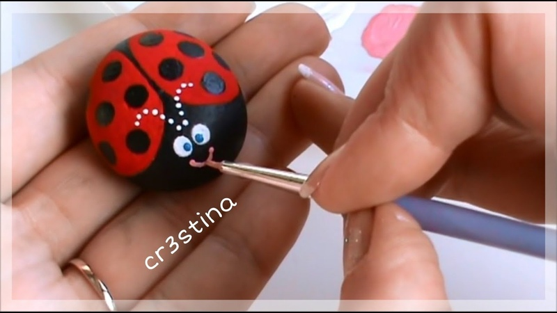 Tutorial Coccinelle Portafortuna dipinte su sassi Rock Painting tutorial