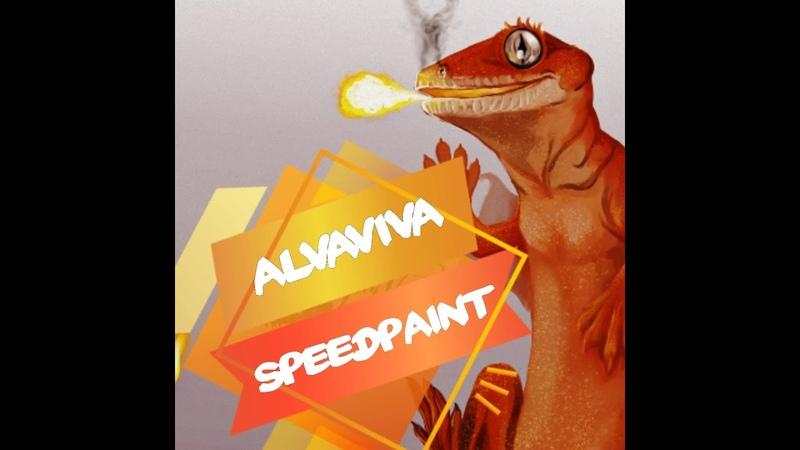 ✵ Speedpaint №3 ✵ by AlvaViva Krita Реснитчатый геккон бананоед Correlophus ciliatus