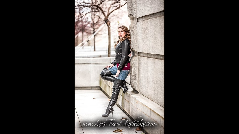 BLACK LEATHER BIKER THIGH BOOTS LEATHER JACKET JEANS MOTROCYCLE STEAMPUNK GOTHIC STYLE FASHION OOTD