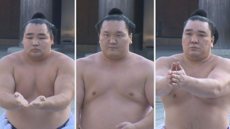 3横綱が奉納土俵入り 初場所前に明治神宮で 3 yokozunas perform ring entrance ceremony