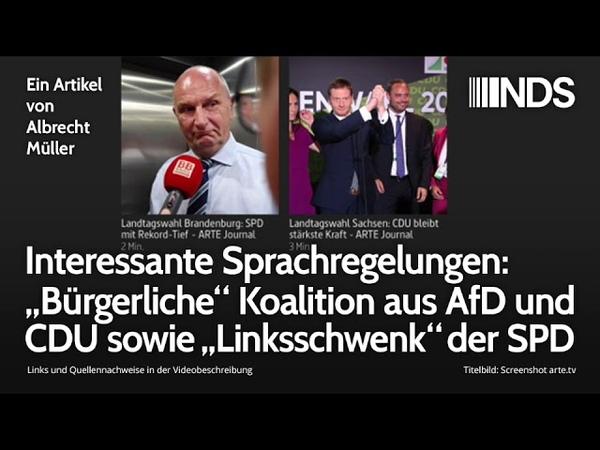 """Interessante Sprachregelungen: """"Bürgerliche"""" Koalition aus AfD und CDU sowie """"Linksschwenk"""" der SPD"""