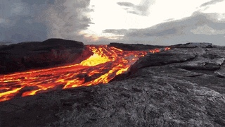 Wonder Of Science - Incredible Footage Of A River Of Lava Flowing To The Kapoho ... | Gfycat