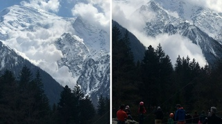 Rare spring avalanche crashes down Mont Blanc in France