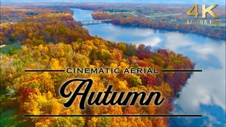 4K Fall Scenery: Aerial Autumn TV Background with Music, Drone Footage, Fall Foliage, Autumn Leaves