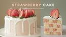 딸기🍓 체크 생크림 케이크 만들기 : Strawberry Checkerboard Cake Recipe : イチゴチェスケーキ | Cooking ASMR