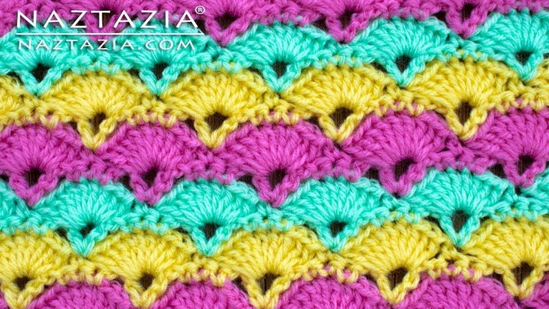 How to Crochet Offset Shell Stitch by Naztazia Good for Blanket Scarf