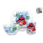 Набор посуды 3пр детский стекло Korall ANGRY BIRDS