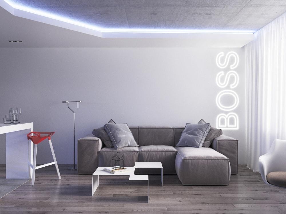 Дизайн-проект квартиры 36 м в hi-tech стилистике.