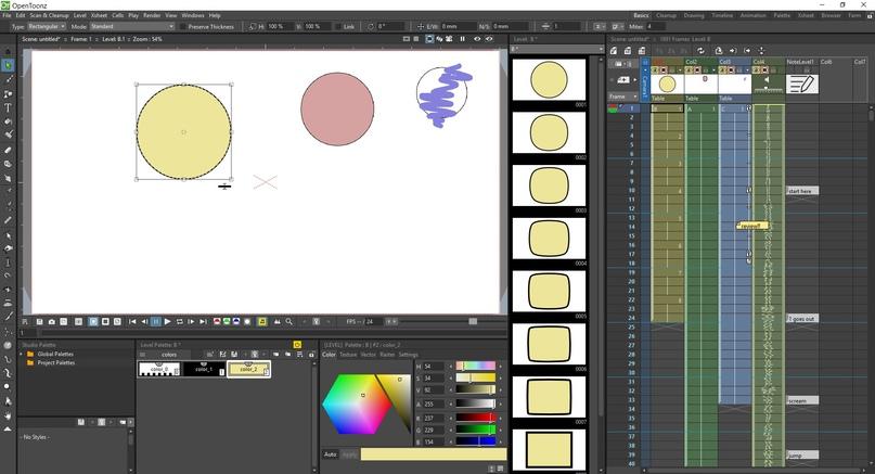 Interfaz de OpenToonz (imagen tomada desde sus págnas de manuales)