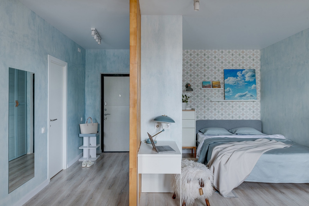 Интерьер квартиры-студии квадратной планировки 36 кв.