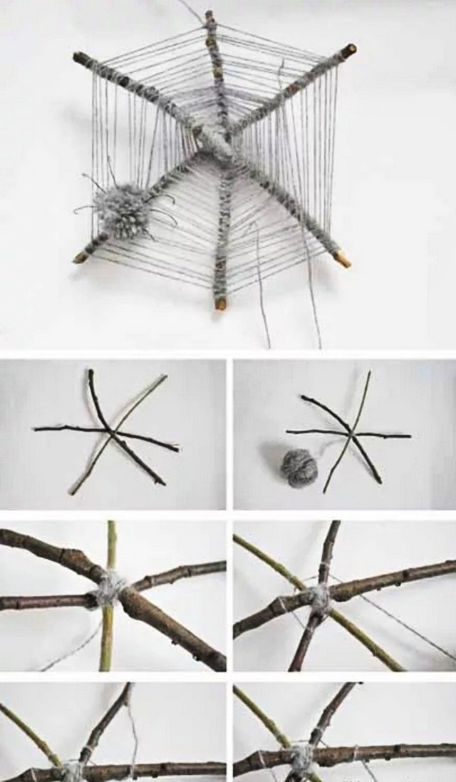 Декоративная паутина и паучок из ниток
