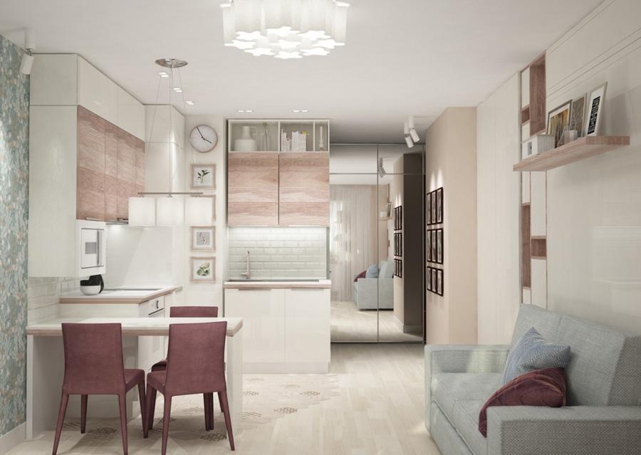 Проект квартиры-студии прямоугольной планировки с боковым входом.