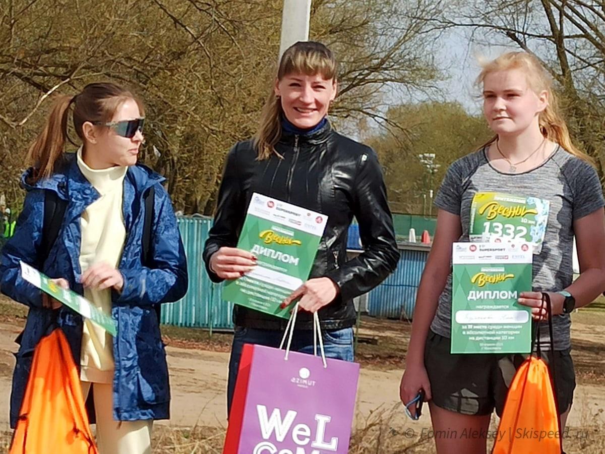 Победители и призёры женщин до 39 лет на 10 км Притяжение весны 2021 (Ярославль)