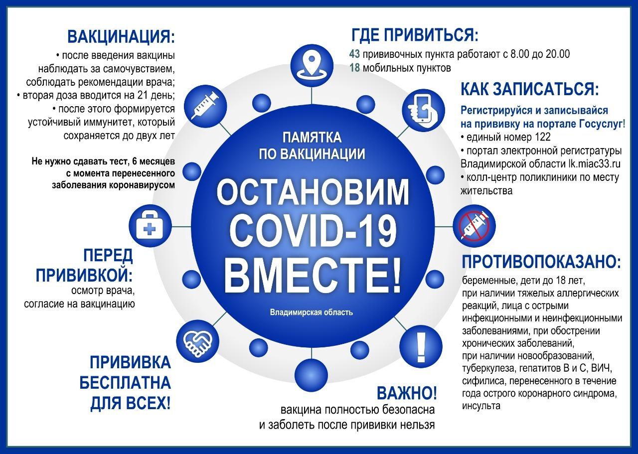 Во Владимирской области развёрнуто 43 прививочных пункта для вакцинации от новой коронавирусной инфекции: