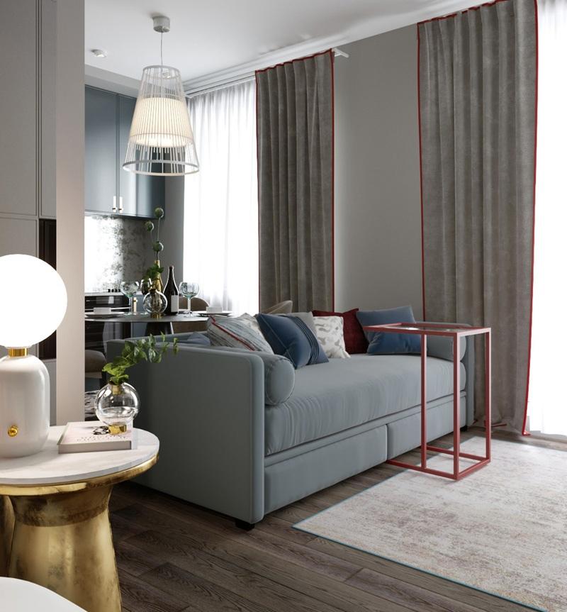 Проект квартиры-студии 29 м (+ лоджия) для молодой семьи.