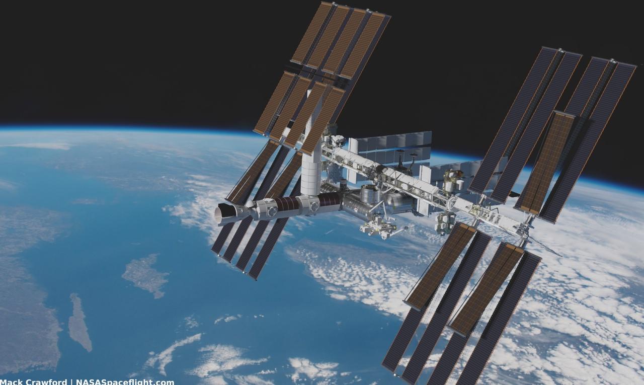 МКС с модулями Axiom  Источник: vk.cc/c2Zg9w