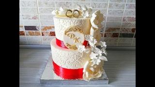 Мой Первый Свадебный торт, работа с Трафаретом, оформление Пионами из мастики