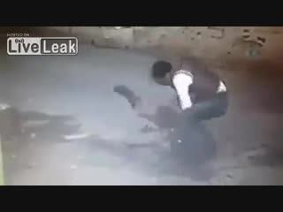 African migrant sneak attack on a european woman in hungary
