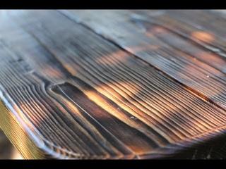 Браширование древесины обжигом. Столешница своими руками.