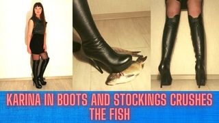 🔥 KARINA IN BOOTS AND STOCKINGS CRUSHES THE FISH