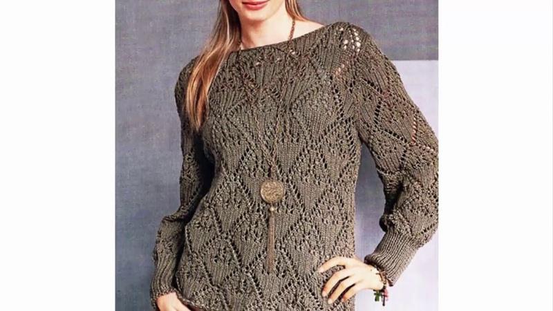 Пуловер Лаконичный ажур с вырезом лодочка из шелка с хлопком спицами схема вязания с описанием