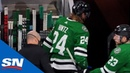 Roope Hintz Heads To Dressing Room After Awkward Fall Into Boards