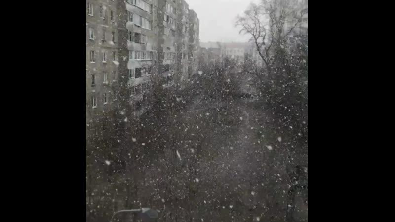 Снег в Подольске 4 апреля mp4