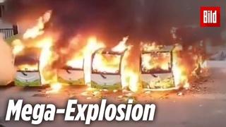 Vier E-Busse explodieren an Stromsäule