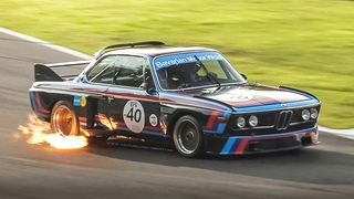 2 x BMW 3.0 CSL Group 2 Touring Cars Howling & Spitting Flames at Monza Circuit!