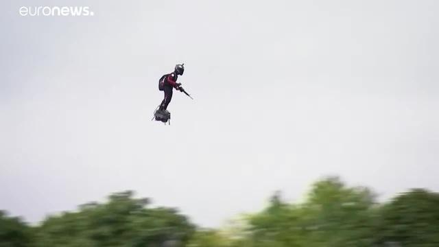 The Future Has Begun Jet-powered Gunman On Flyboard Over Paris - C.L.U.