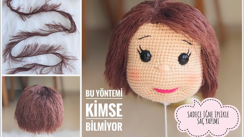 AMIGURUMI EN KOLAY SAÇ YAPIMI (EASIEST WAY TO HAIR EXTENSION WITH EYELASH YARN) ENG SUBTITLES ON