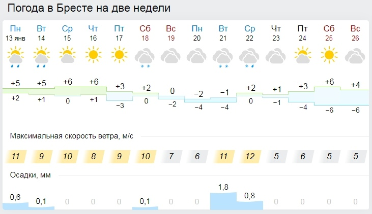 Сырая и теплая для зимы погода ожидается в Беларуси на этой неделе