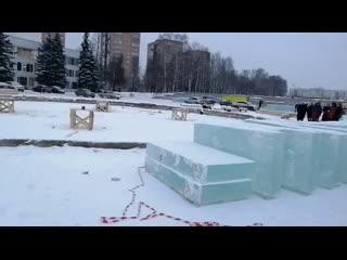 Строительство ледового городка в Ижевске